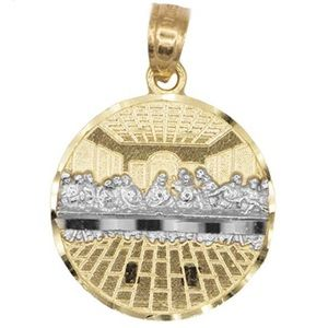 10k Solid Gold Small Last Supper Pendant Medallion